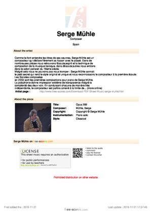 Sheet Music Opus 289