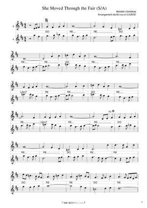 Sheet Music She Moved Through The Fair (S/A)