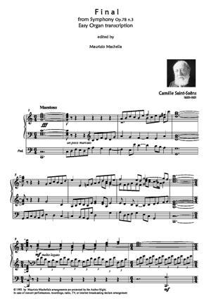 Sheet Music Final from Op.78 n.3 - easy Organ transcription