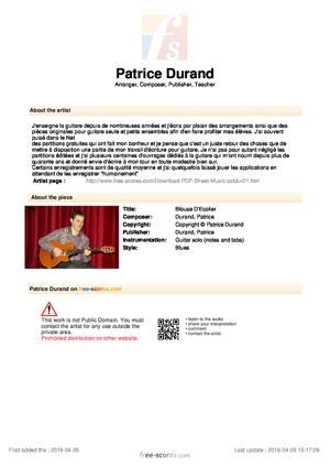 Sheet Music Blouse D'Ecolier