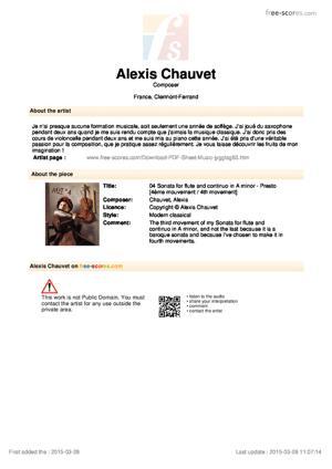 Sheet Music 04 Sonata for flute and continuo in A minor - Presto