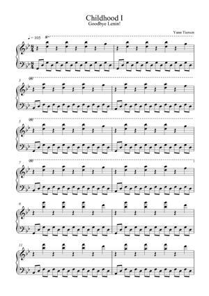 Sheet Music Yann Tiersen - Childhood I