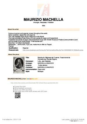 Sheet Music Marche du Régiment de Turenne. Transcribed for Organ.