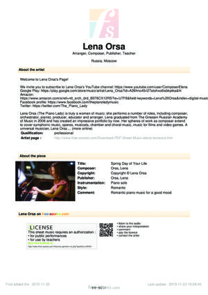Sheet Music Lena Orsa - Spring Day of Your Life