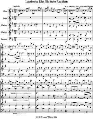 Sheet Music Lacrimosa Die Illa from Requiem