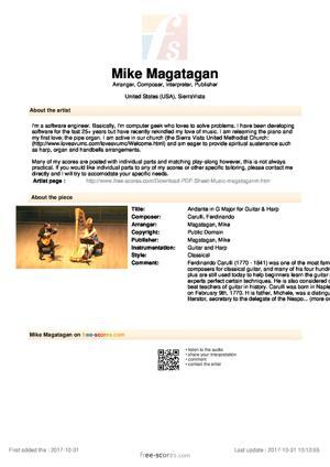 Sheet Music Andante in G Major for Guitar & Harp