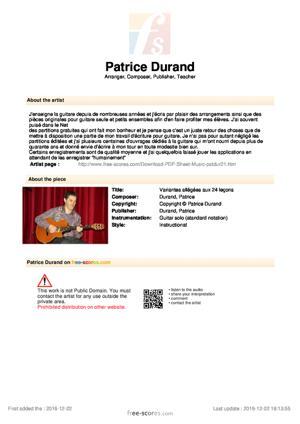 Sheet Music Variantes allégées aux 24 leçons