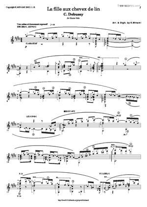 Sheet Music La fille aux cheveux de lin