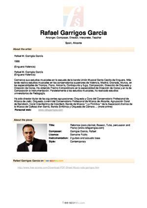 Sheet Music Retornos (para clarinet, Basson, Tuba, percussion and Piano)