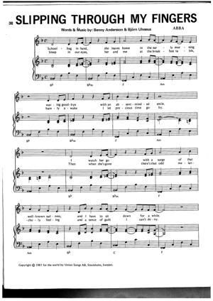 Sheet Music ABBA - Slipping Through My Fingers
