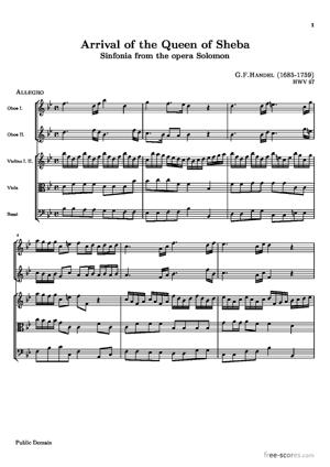 Sheet Music Arrival of the Queen of Sheba (Sinfonia from the opera Solomon)