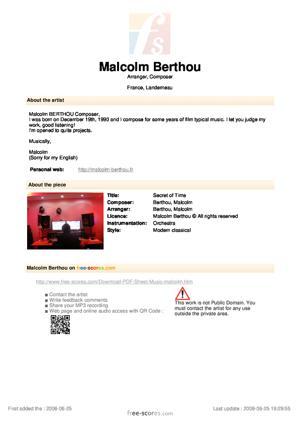 Sheet Music Malcolm Berthou - Secret of Time
