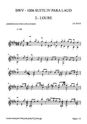 Sheet Music bach bwv1006 suite laud nº4 2 loure