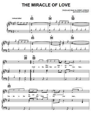 Sheet Music Eurythmics - Miracle Of Love
