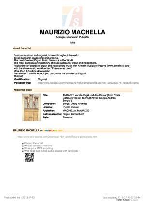 Sheet Music ANDANTE vor die Orgel und das Clavier