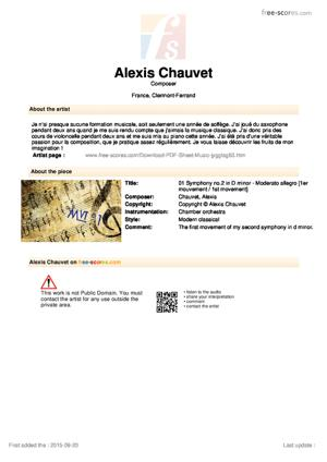 Sheet Music 01 Symphony no.2 in D minor - Moderato allegro