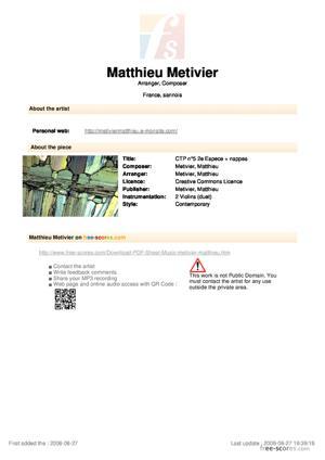 Sheet Music Contrepoint n°5 - 2e Espèce + nappes synthétiques optionnelles