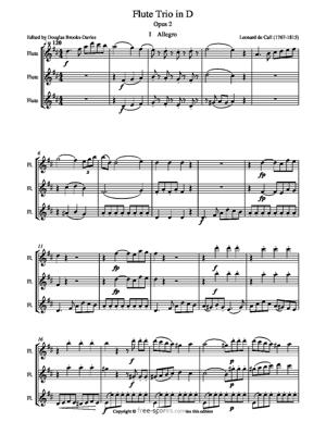 Sheet Music Trio Sonata in D for concert flutes