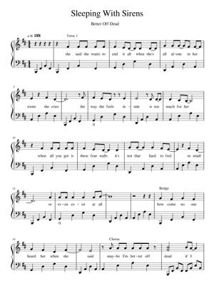 Sheet Music Sleeping With Sirens - Better Off Dead