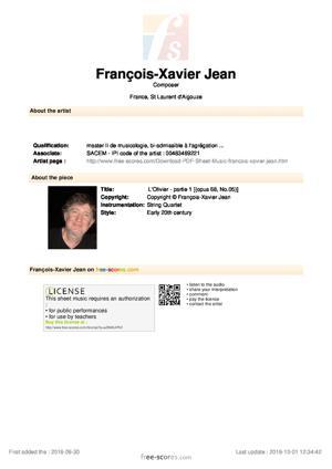 Sheet Music L'Olivier - partie 1