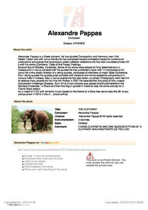 Sheet Music THE ELEPHANT