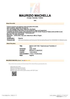 Sheet Music MAPLE LEAF RAG -Trascrizione per Pianoforte a 4 mani.