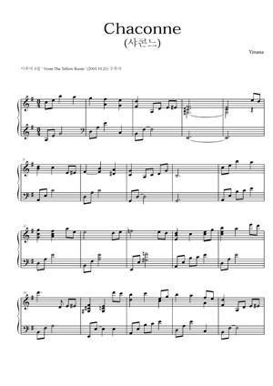 Sheet Music Yiruma - Chaconne