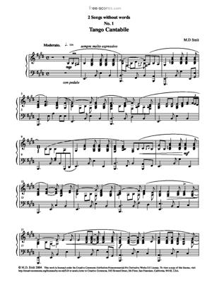 Sheet Music 2 Songs without words No. 1. Tango Cantabile