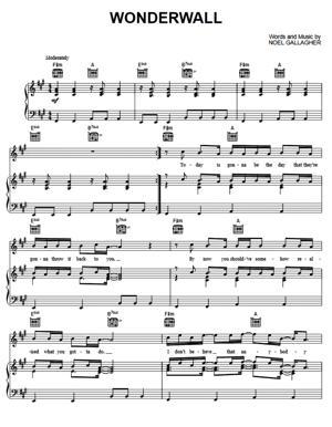 Sheet Music Oasis - Wonderwall