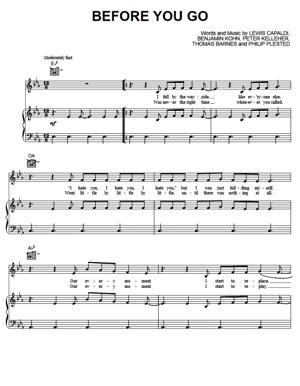 Sheet Music Lewis Capaldi - Before You Go