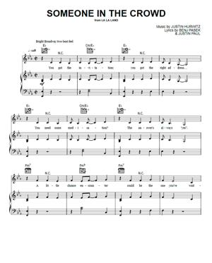 Sheet Music La La Land - Someone In The Crowd