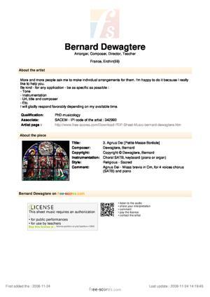 Sheet Music 3. Agnus Dei