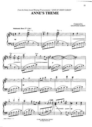 Sheet Music From Anne Of Green Gables - Anne's Theme