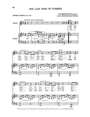 Sheet Music Traditional Irish - The Last Rose of Summer