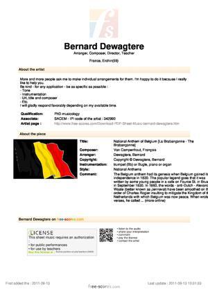 Sheet Music National Anthem of Belgium