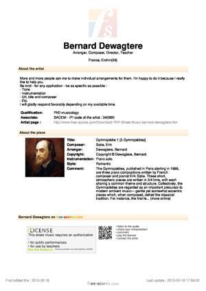Sheet Music Gymnopédie 1