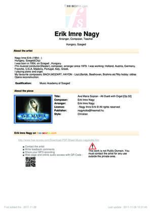 Sheet Music Ave Maria Sopran - Alt Duett with Orgel