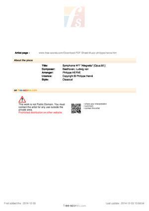 "Sheet Music Symphonie N°7  ""Allegretto"""