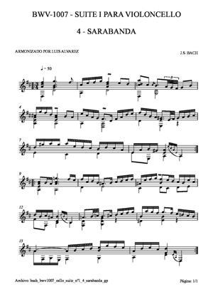 Sheet Music bach bwv1007 cello suite nº1 4 sarabanda