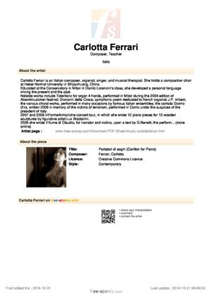 Sheet Music Portatori di sogni (Carillon for Piano)