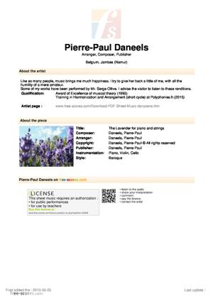Sheet Music The Lavender for piano and strings