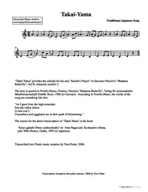 Sheet Music Takai-Yama (High Mountain)