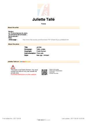 Sheet Music Joli Mai
