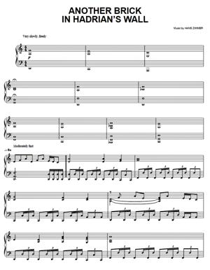 Sheet Music Hans Zimmer (from King Arthur) - Another Brick In Hadrian's Wall
