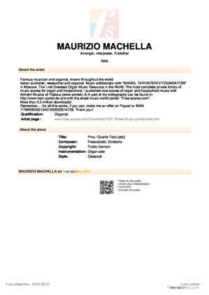 Sheet Music Piva / Quarta Tocc.[ata]