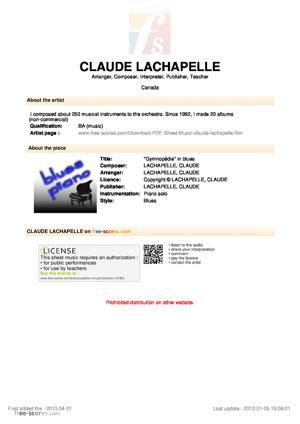 """Sheet Music CLAUDE LACHAPELLE - """"Gymnopédie"""" in blues"""