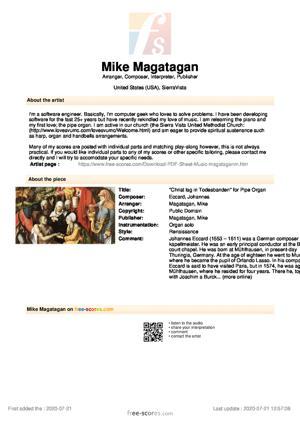 """Sheet Music """"Christ lag in Todesbanden"""" for Pipe Organ"""