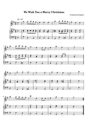 Sheet Music Traditional English - We Wish You a Merry Christmas