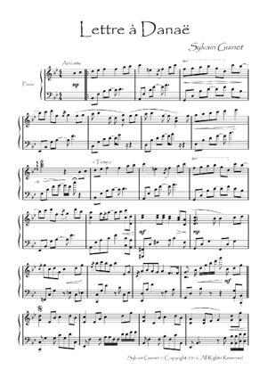 Sheet Music Lettre à Danaë