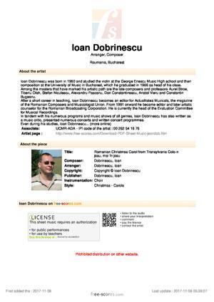 Sheet Music Ioan Dobrinescu - Romanian Christmas Carol from Transylvania Colo-n josu, mai în josu